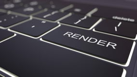 Moderne schwarze Computertastatur und leuchtende übertragen Schlüssel Wiedergabe 3d Lizenzfreie Stockfotos