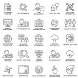Moderne SEO-Konturnikonen der Netzoptimierung, Marketing lizenzfreie stockbilder
