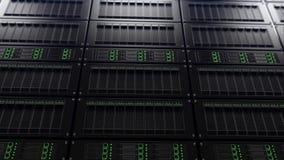Moderne serverrekken, ondiepe nadruk Het concept van het onderzoek het 3d teruggeven Stock Foto's