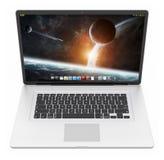 Moderne silberne Wiedergabe des Laptops 3D Lizenzfreie Stockfotografie