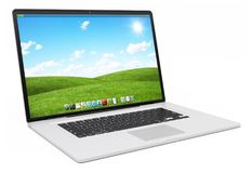 Moderne silberne Wiedergabe des Laptops 3D Stockfoto