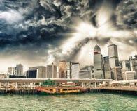 Moderne Skyline Hong Kong Islands an einem schönen Abend Lizenzfreie Stockfotografie