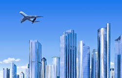 Moderne Skyline mit Flugzeug Stockfotografie