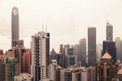 Moderne Skyline von Hong Kong-Stadt, Vogelperspektive Stockfoto