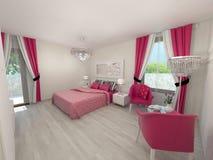Moderne slaapkamer Royalty-vrije Stock Afbeeldingen