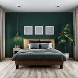 Moderne slaapkamer donkere toon, het 3d teruggeven stock illustratie