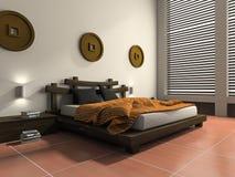 Moderne slaapkamer in etnische stijl Stock Afbeelding