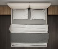 Moderne slaapkamer, hoogste mening, close-up op dubbel grijs en roombed, parketvloer, eigentijds binnenlands ontwerp royalty-vrije stock fotografie