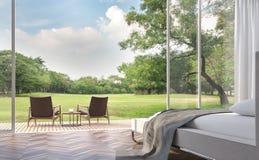 Moderne slaapkamer met 3d teruggevende Beeld van de tuinmening stock illustratie