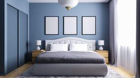 Moderne slaapkamer met ingebouwde garderobe en gelamineerde bevloering stock illustratie
