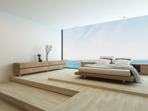Moderne slaapkamer met vloer aan plafondvensters Royalty-vrije Stock Fotografie