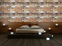 Moderne slaapkamer in zolder met kaarsen Royalty-vrije Stock Foto