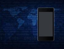Moderne slimme telefoon met het lege grijze scherm over kaart en computer Royalty-vrije Stock Foto's