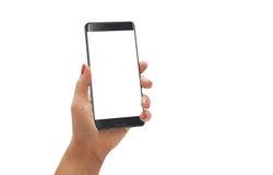 Moderne smartphone van de vrouwengreep met gebogen rand met het witte scherm voor model Stock Foto's