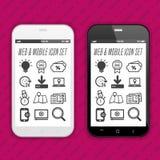 Moderne Smartphones met app pictogrammen op de Vertoning van het aanrakingsscherm Royalty-vrije Stock Afbeelding