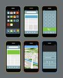 Moderne Smartphones mit verschiedenen Anwendungen Stockbild