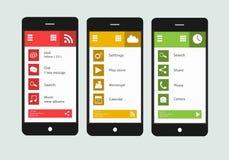 Moderne Smartphoneschnittstelle mit flachen materiellen Designschirmen Stockfotos