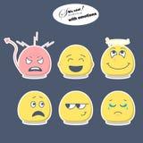 Moderne smileys met emoties in standaardkleur royalty-vrije illustratie
