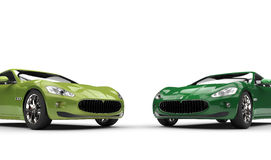 Moderne Snelle Groene Auto's Royalty-vrije Stock Afbeelding