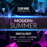 Moderne Sommer-Verein-Musik-Partei-Schablone, Tanzparty-Flieger, Broschüre Nachtpartei-Vereinton Fahnen-Plakat lizenzfreie abbildung