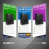 Moderne Sonderangebot-Netz-Fahnen-gesetzter Vektor gefärbt: Blau, violett, Grün Website, die Produkt-Kasten zeigt Lizenzfreie Stockfotos
