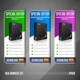 Moderne Sonderangebot-Netz-Fahnen-gesetzter Vektor gefärbt: Grün, blau, violett, purpurrot Website, die Produkt-Kasten zeigt Lizenzfreie Stockbilder