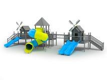 Moderne speelplaats voor kinderen zwart-witte twee blauwe dia's en het gele tussenvoegsel 3d teruggeven op een witte achtergrond  stock illustratie