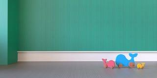 Moderne spelzaal en Stuk speelgoed babyvertoning/het 3d teruggeven Stock Afbeelding