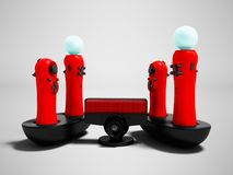 Moderne Spielmanipulatoren des Rotes zwei drahtlos für Videospiele mit stock abbildung