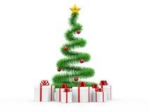 Moderne spiraalvormige Kerstboom met giftboxes Stock Foto's