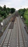Moderne spoorwegen en zaken stock foto