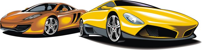 Moderne sportwagens (mijn origineel ontwerp) stock illustratie