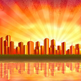 Moderne stad bij zonsondergang Stock Foto