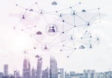 Moderne stad en sociale netto als concept voor globaal voorzien van een netwerk stock illustratie