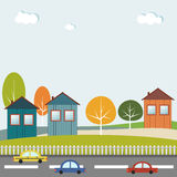 Moderne Stad met Auto's en Kleurrijke Huizen Gezond het leven concept Stock Afbeeldingen