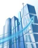 Moderne stadsgebouwen en abstracte bedrijfsgrafiek Royalty-vrije Stock Afbeeldingen