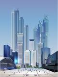 Moderne stadsillustratie met wolkenkrabbers Royalty-vrije Stock Foto's