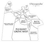 Moderne Stadskaart - Chesapeake de stad van Virginia van de V.S. met buurten en de titels schetsen kaart royalty-vrije illustratie