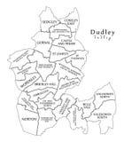 Moderne Stadskaart - Dudley-de stad van Engeland met afdelingen en de titels het UK schetsen kaart vector illustratie