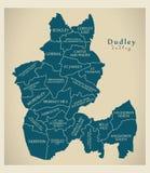 Moderne Stadskaart - Dudley-stad van Engeland met afdelingen en titels het UK royalty-vrije illustratie