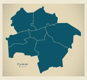 Moderne Stadskaart - Hamm-stad van Duitsland met steden DE Stock Foto's