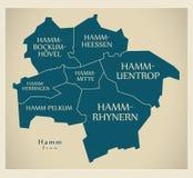 Moderne Stadskaart - Hamm-stad van Duitsland met steden en titels Stock Afbeeldingen