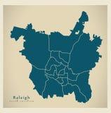 Moderne Stadskaart - Raleigh North Carolina-stad van de V.S. met Ne vector illustratie