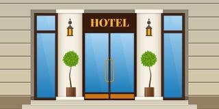 Moderne stadsvoorgevel van de hotelbouw De buiten en binnenlandse bouw Stock Foto's