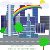 Moderne Stadt mit entwickelter Infrastruktur Stockbild