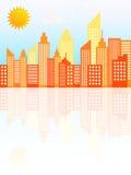 Moderne Stadt-Wolkenkratzer-Skyline auf Sunny Day Stockfotografie