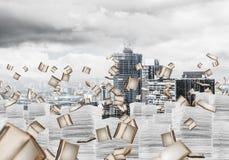 Moderne Stadtansicht getrennte alte Bücher Stockbild