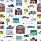 Moderne stedelijke van het stadsgebouwen en vervoer naadloze de stads van patroonmegapolice vectorillustratie als achtergrond Stock Foto