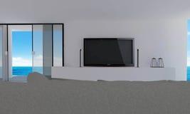 Moderne strandwoonkamer met overzeese mening en achtergrond-3d hemel ren Royalty-vrije Stock Foto's