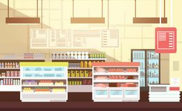 Moderne supermarkt lege binnenlandse vlakke vectorillustratie vector illustratie